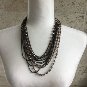Coldwater Creek Multistrand Pink & Bronze Necklace
